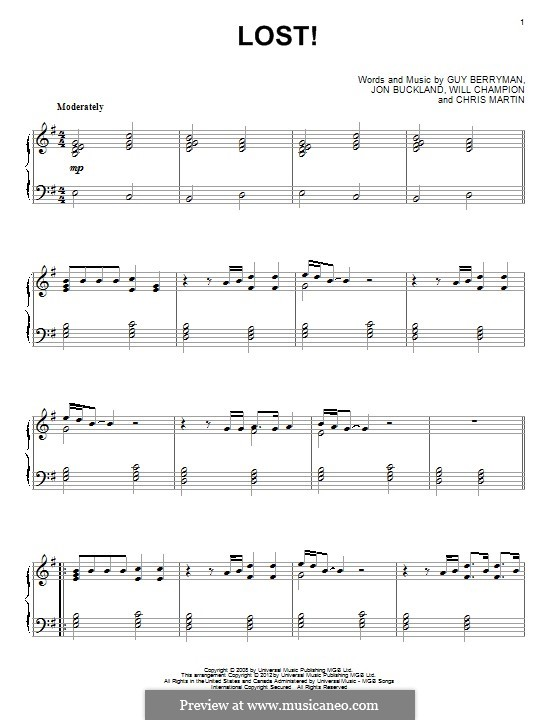 Lost+ (Coldplay feat. Jay-Z): For piano by Chris Martin, Guy Berryman, Jonny Buckland, Jay-Z, Will Champion