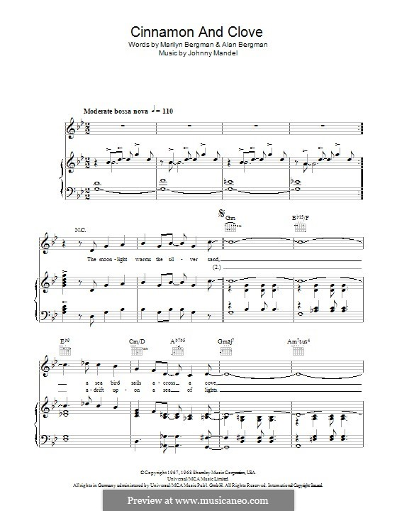 Cinnamon and Clove: For voice and piano (or guitar) by Johnny Mandel