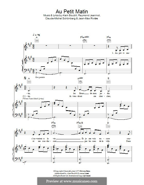 Au Petit Matin: For voice and piano (or guitar) by Claude-Michel Schönberg