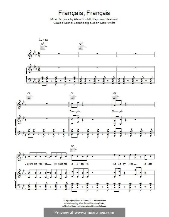 Francais, Francais: For voice and piano (or guitar) by Claude-Michel Schönberg