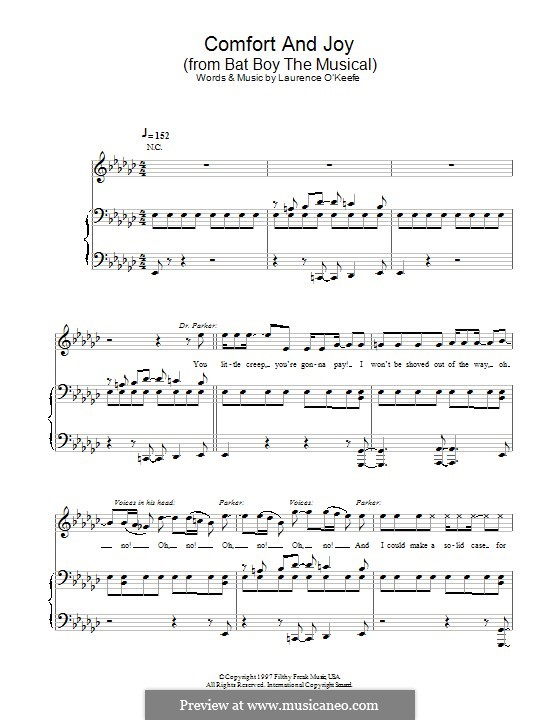Comfort and Joy (from Bat Boy the Musical): For voice and piano (or guitar) by Laurence O'Keefe