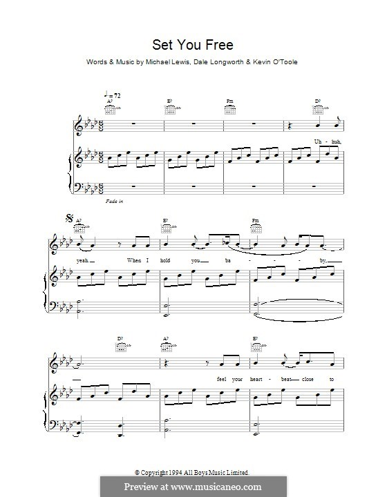 Set You Free (N-Trance): For voice and piano by Mike Lewis, Dale Longworth, Kevin O'Toole