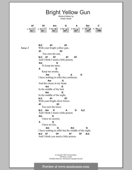 Bright Yellow Gun (Throwing Muses): Lyrics and chords by Kristin Hersh