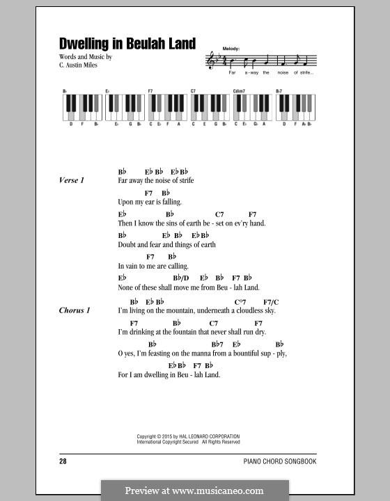 Dwelling in Beulah Land: Lyrics and chords by C. Austin Miles