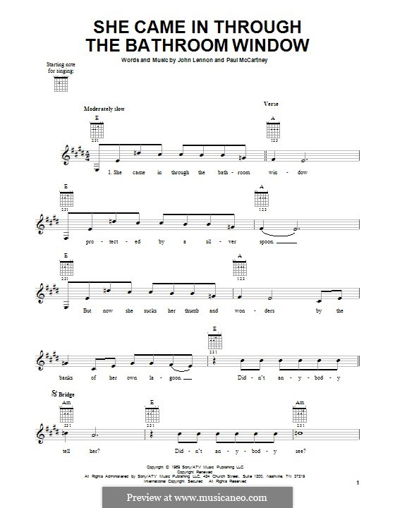 She Came in Through the Bathroom Window (The Beatles): For guitar with tab by John Lennon, Paul McCartney