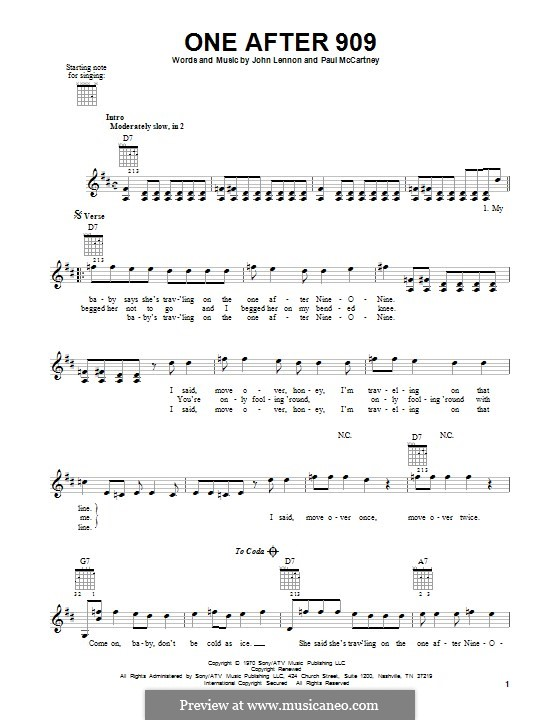 One After 909 (The Beatles): For guitar with tab by John Lennon, Paul McCartney