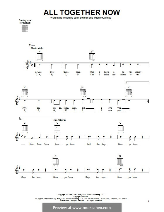 All Together Now (The Beatles): For guitar with tab by John Lennon, Paul McCartney