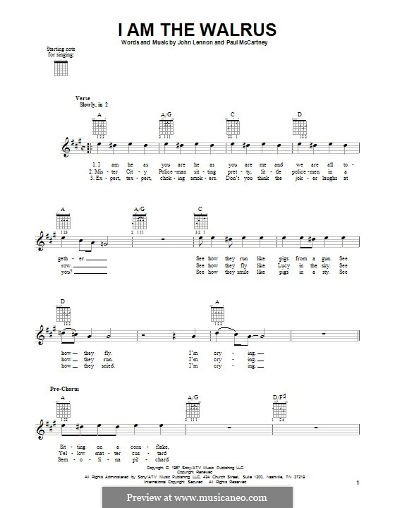 I am the Walrus (The Beatles): For guitar with tab by John Lennon, Paul McCartney