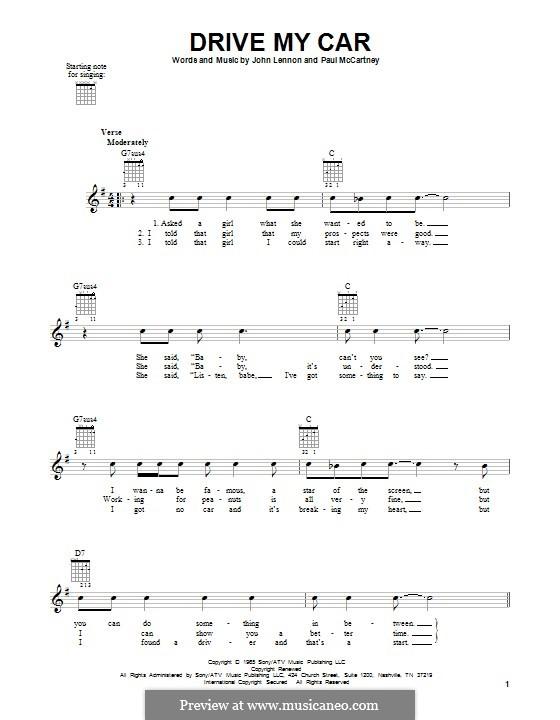 Drive My Car (The Beatles): For guitar with tab by John Lennon, Paul McCartney