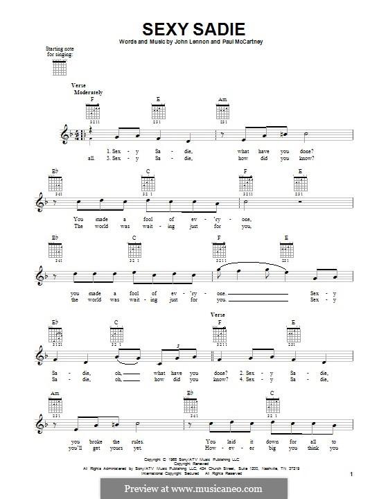 Sexy sadie chords and lyrics