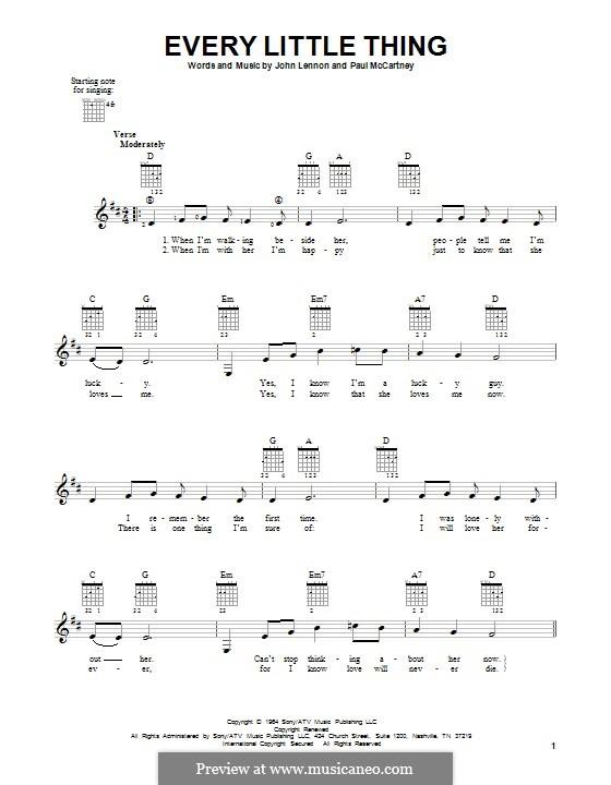 Every Little Thing (The Beatles): For guitar by John Lennon, Paul McCartney