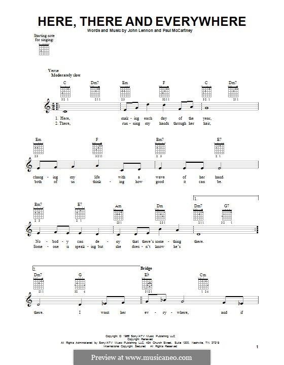 Here, There and Everywhere (The Beatles): For guitar with tab by John Lennon, Paul McCartney