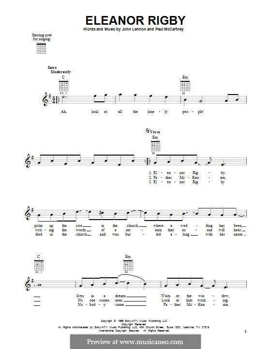 Eleanor Rigby (The Beatles): For guitar with tab by John Lennon, Paul McCartney
