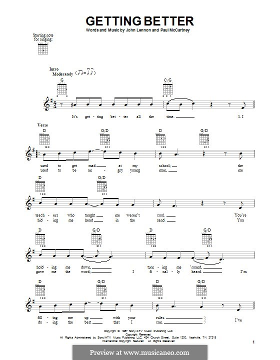 Getting Better (The Beatles): For guitar with tab by John Lennon, Paul McCartney