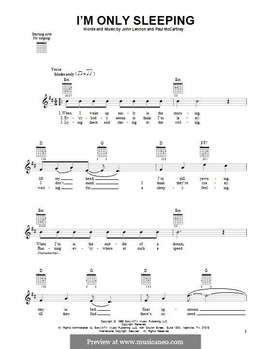 I'm Only Sleeping (The Beatles): For guitar with tab by John Lennon, Paul McCartney