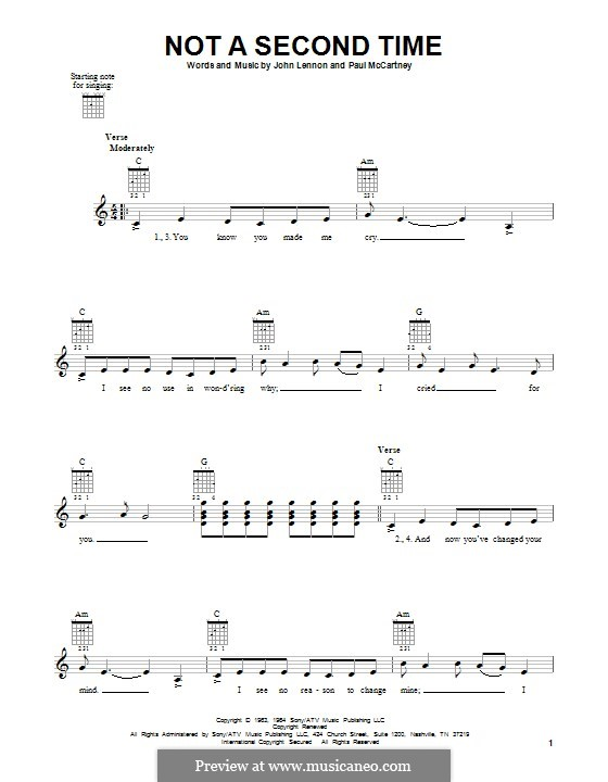 Not a Second Time (The Beatles): For guitar by John Lennon, Paul McCartney
