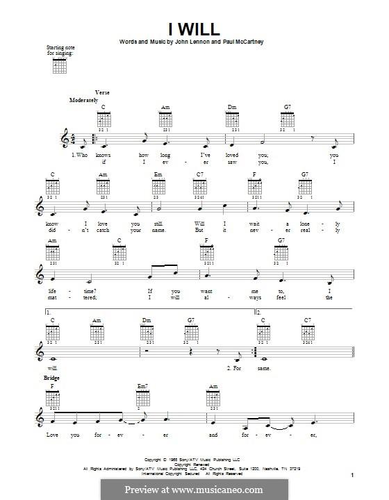 I Will (The Beatles): For guitar by John Lennon, Paul McCartney