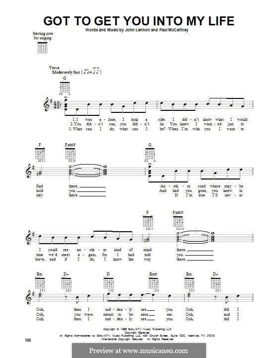 Got To Get You Into My Life (The Beatles): For guitar by John Lennon, Paul McCartney