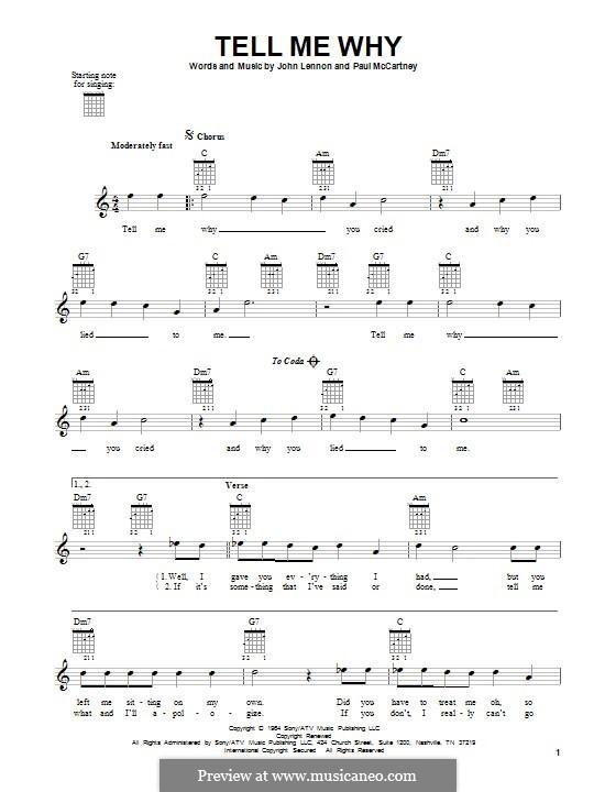 Tell Me Why (The Beatles): For guitar by John Lennon, Paul McCartney