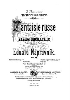 Fantasia on Russian Themes for Piano and Orchestra, Op.39: Full score by Eduard Napravnik