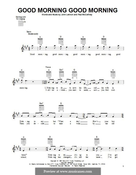 Good Morning Good Morning (The Beatles): For guitar with tab by John Lennon, Paul McCartney