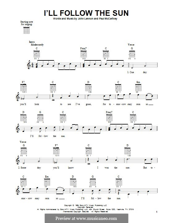 I'll Follow the Sun (The Beatles): For guitar by John Lennon, Paul McCartney