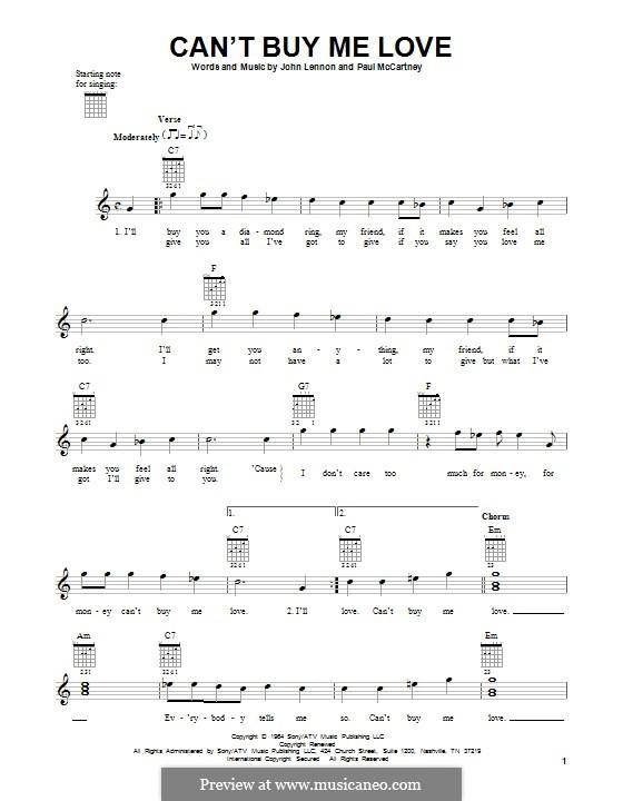 Can't Buy Me Love (The Beatles): For guitar by John Lennon, Paul McCartney