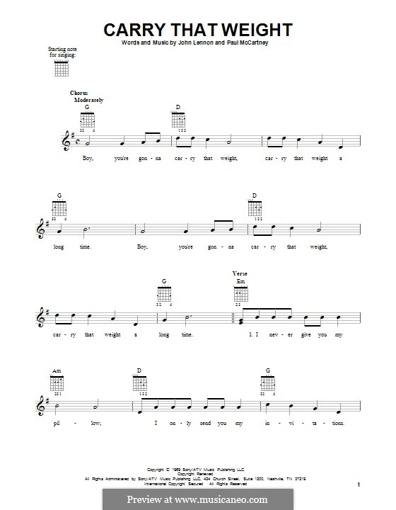 Carry That Weight (The Beatles): For guitar by John Lennon, Paul McCartney