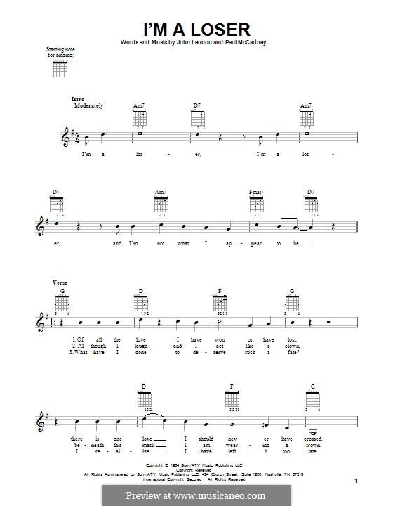 I'm a Loser (The Beatles): For guitar by John Lennon, Paul McCartney