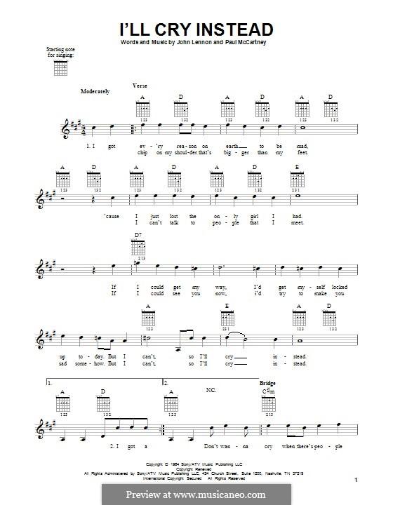 I'll Cry Instead (The Beatles): For guitar by John Lennon, Paul McCartney