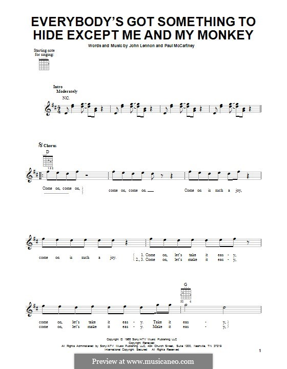Everybody's Got Something to Hide Except Me and My Monkey (The Beatles): For guitar by John Lennon, Paul McCartney