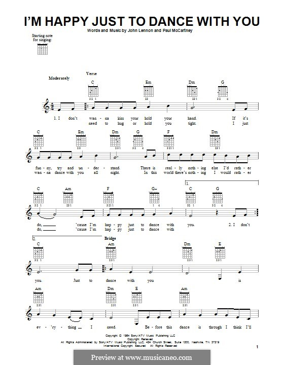 I'm Happy Just to Dance with You (The Beatles): For guitar with tab by John Lennon, Paul McCartney