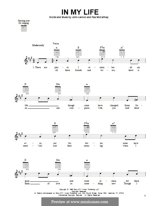 In My Life (The Beatles): For guitar with tab by John Lennon, Paul McCartney