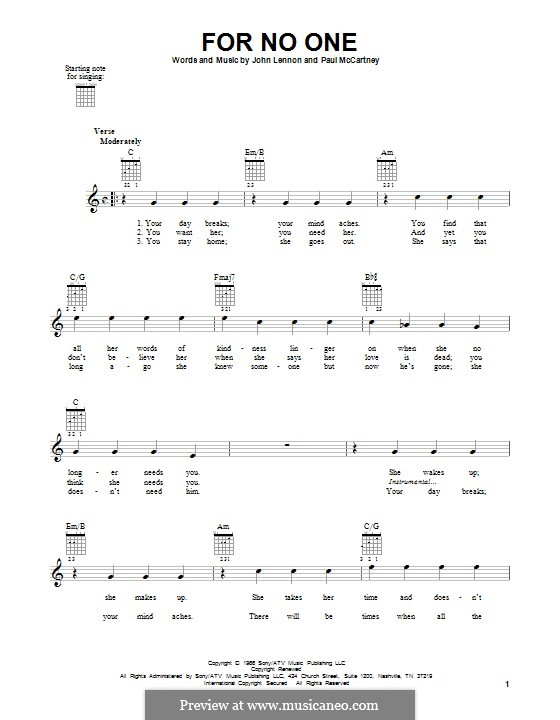 For no One (The Beatles): For guitar with tab by John Lennon, Paul McCartney