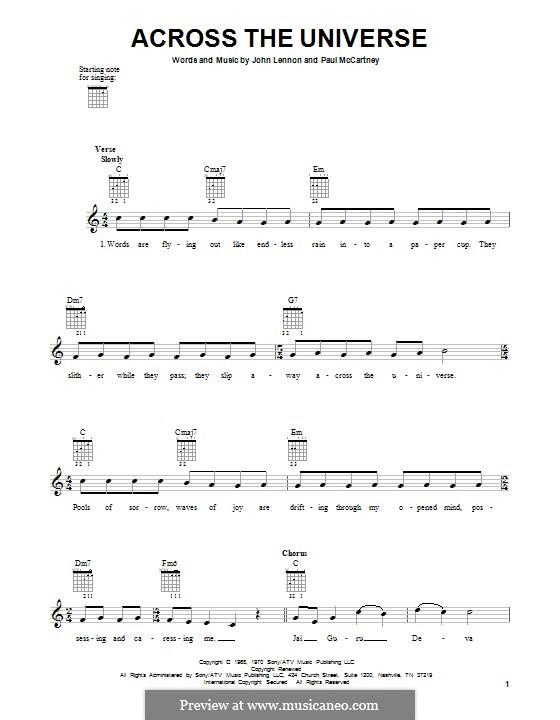 Across the Universe (The Beatles): For guitar by John Lennon, Paul McCartney