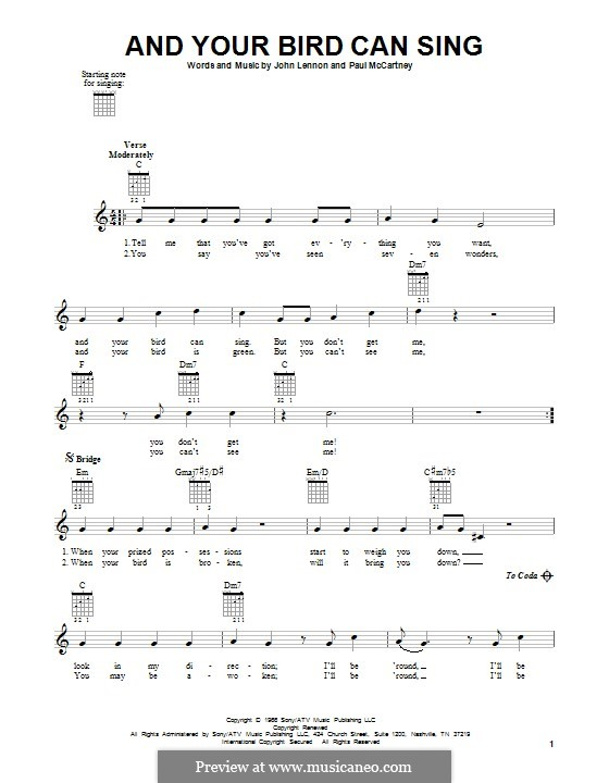 And Your Bird Can Sing (The Beatles): For guitar by John Lennon, Paul McCartney