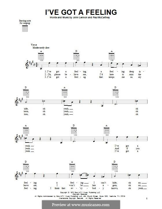I've Got a Feeling (The Beatles): For guitar by John Lennon, Paul McCartney