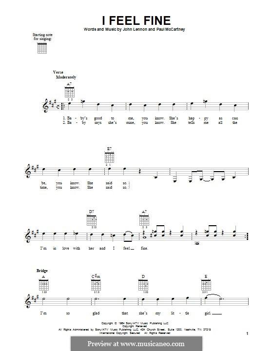 I Feel Fine (The Beatles): For guitar by John Lennon, Paul McCartney