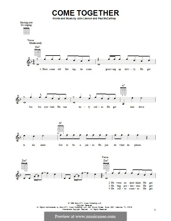 Come Together (The Beatles): For guitar by John Lennon, Paul McCartney