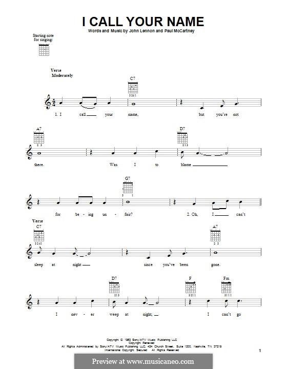 I Call Your Name (The Beatles): For guitar by John Lennon, Paul McCartney