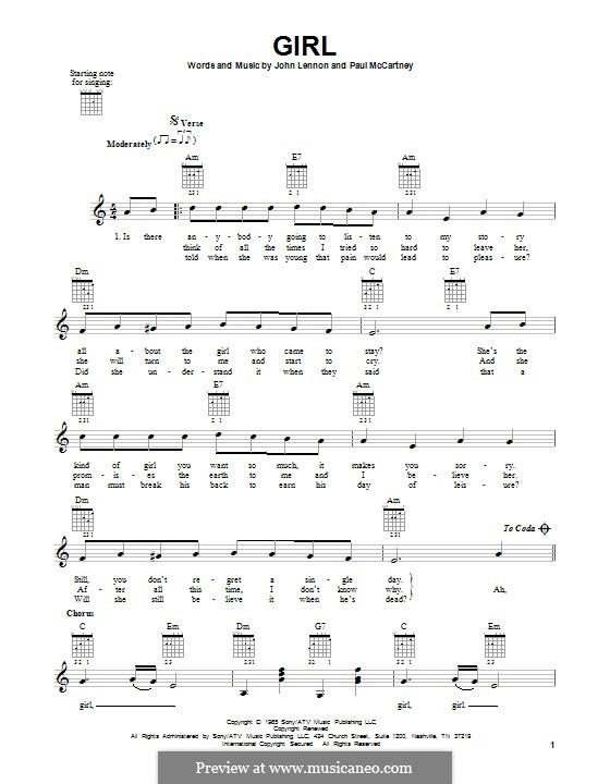 Girl (The Beatles): For guitar by John Lennon, Paul McCartney