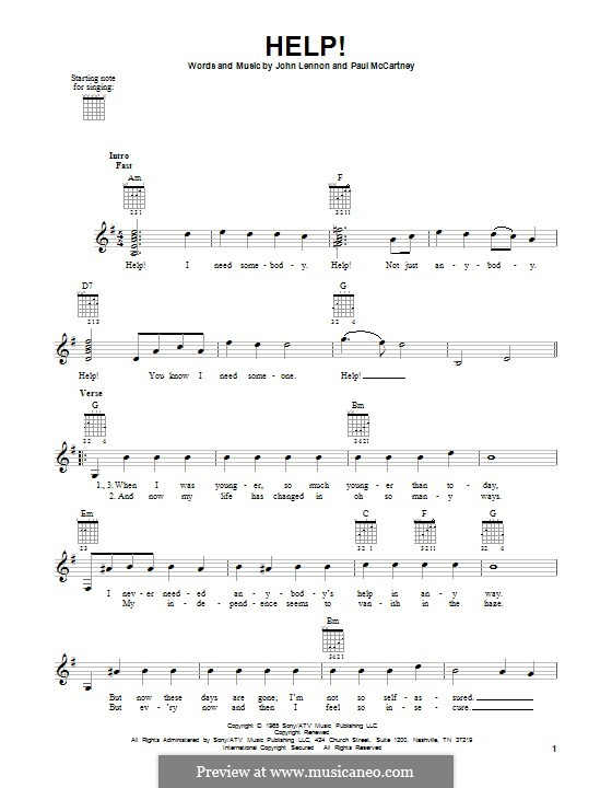 Help! (The Beatles): For guitar with tab by John Lennon, Paul McCartney