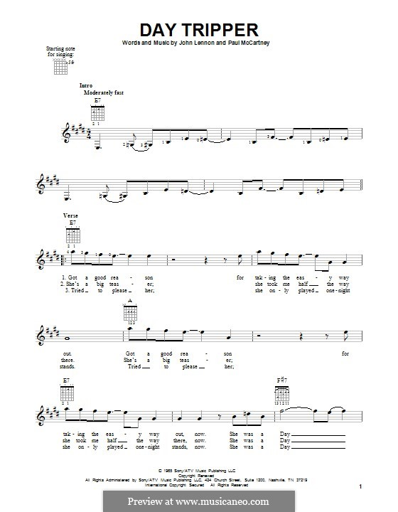 Day Tripper (The Beatles): For guitar with tab by John Lennon, Paul McCartney