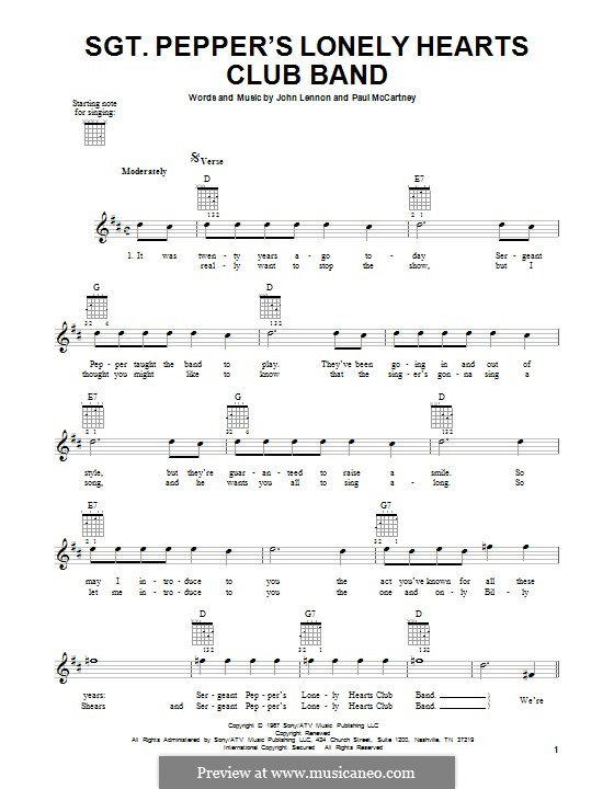 Sgt. Pepper's Lonely Hearts Club Band (The Beatles): For guitar with tab by John Lennon, Paul McCartney