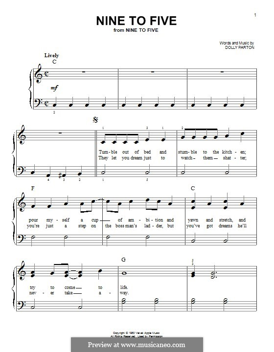 Nine to Five: For piano by Dolly Parton