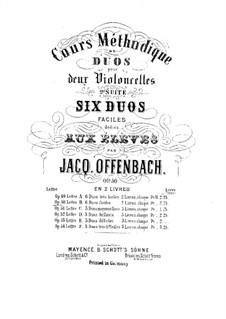 Six Duos for Two Cellos, Op.50: Duos No.1-3 – parts by Jacques Offenbach