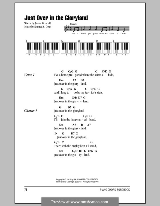 Just Over in the Gloryland: Lyrics and chords by Emmett S. Dean