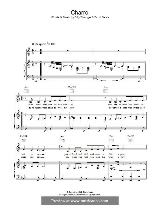 Charro (Elvis Presley): For voice and piano (or guitar) by Billy Strange, Scott Davis
