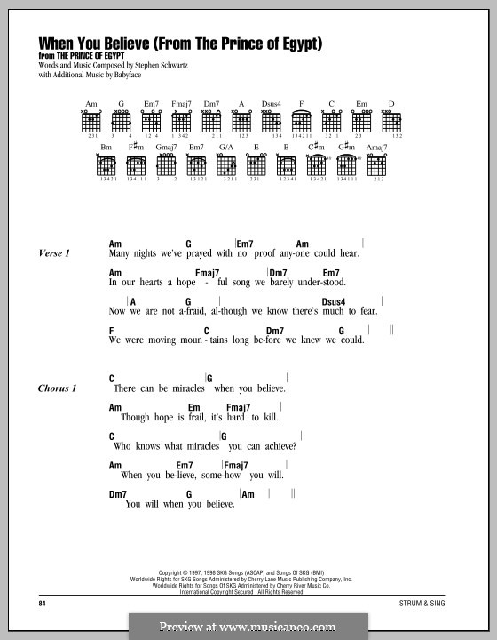 When You Believe (from The Prince of Egypt): Lyrics and chords by Stephen Schwartz