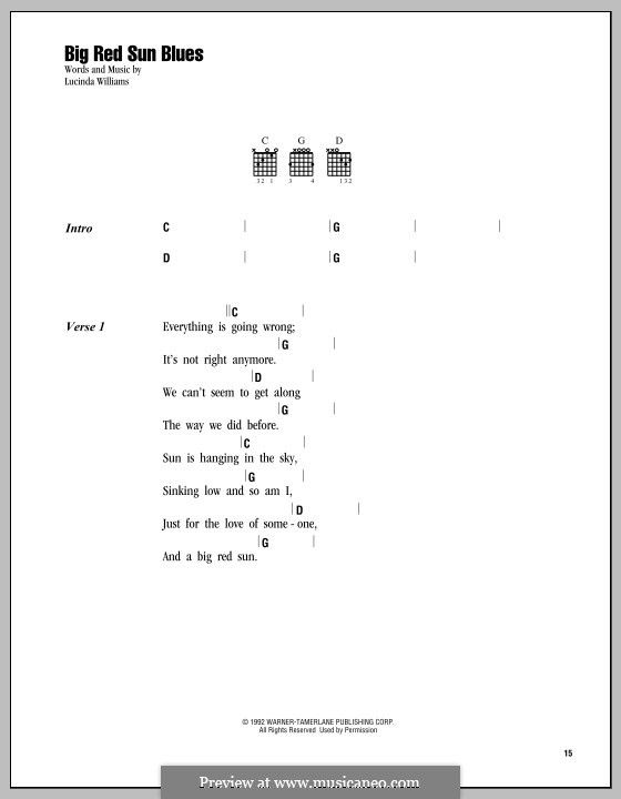 Big Red Sun Blues: Lyrics and chords by Lucinda Williams